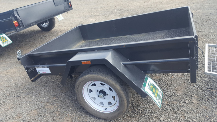 "6 X 4 Trailer Smooth Floor Drop front 12"" Sides Wheels with new light truck tyres"