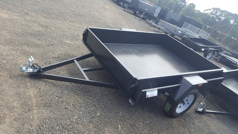"""7 X 5 Trailer Checker Plate Floor Drop Front 12"""" Sides With Light Truck Tyres"""