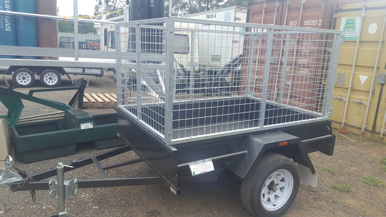 """6 X 4 3ft Cage Trailer 750kg GVM 12"""" Sides Checker Plate Floor Fixed Front with jockey wheel and spare wheel"""
