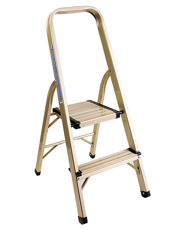 LADDER, 2 STEP, DELUXE ALUMINUM H/DUTY, GOLD