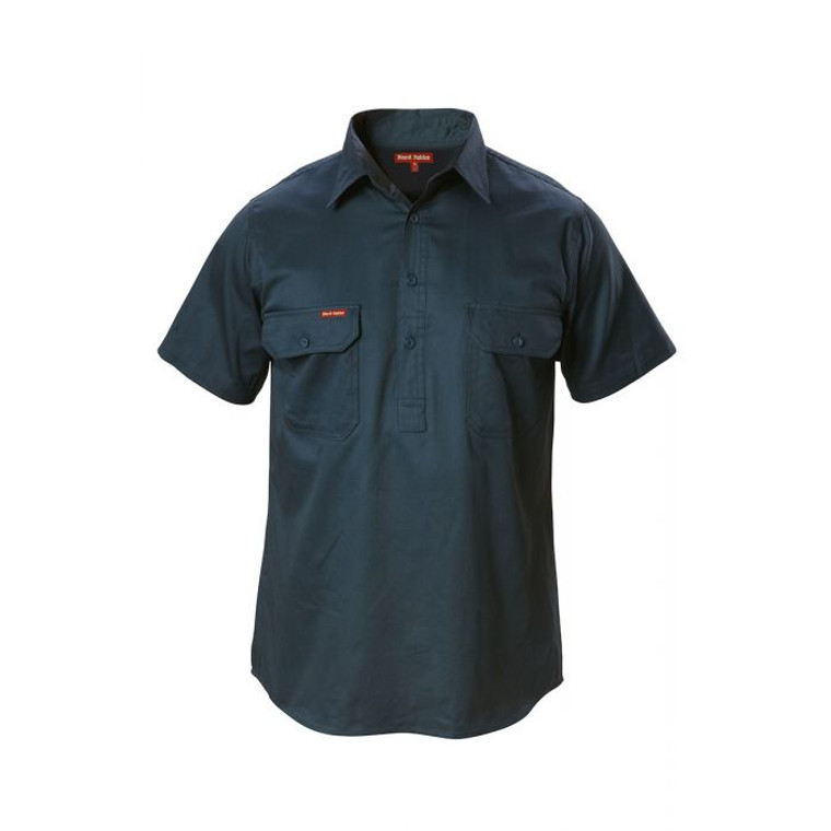 FOUNDATIONS COTTON DRILL CLOSED FRONT SHORT SLEEVE SHIRT