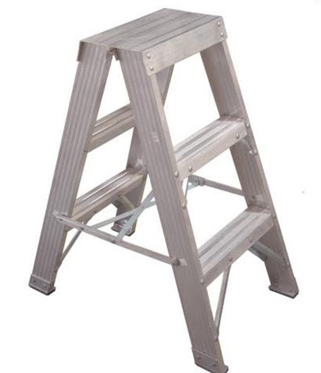 .9 ALUM DOUBLE SIDED STEP LADDER ALUMINIUM