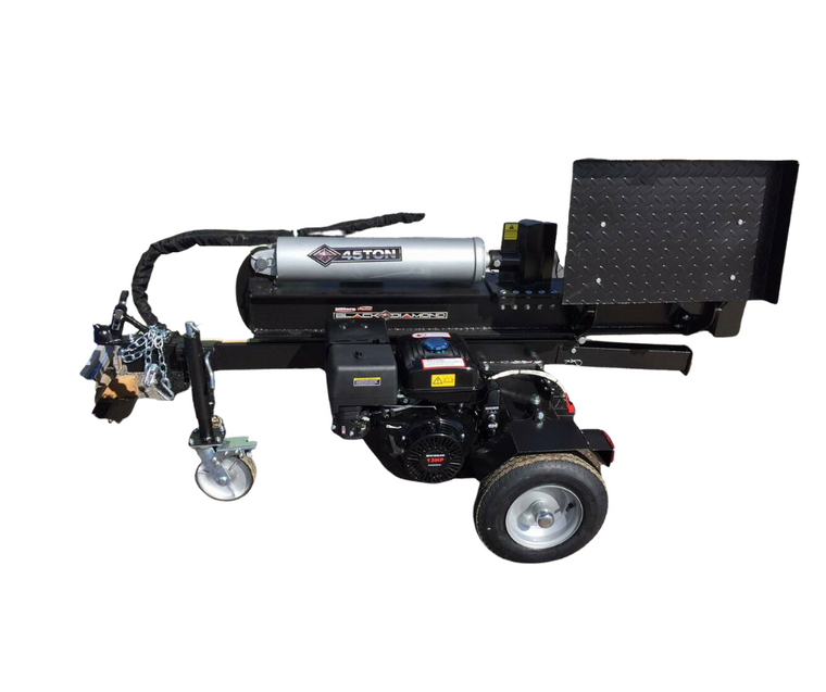 45 TON LOG SPLITTER, ELECTRIC START  15HP Engine 20cm Diameter X 5cm Jockey wheel  Maximum length: 55cm; 30cm diameter Heavy duty log table Heavy duty 12.7cm x 49.3cm cylinder 20cm Heavy duty cast steel wedge, wearproof           2-stage gear pump for minimum 18 seconds cycle time Auto return valve, with safe relief function 16'' DOT pneumatic wheels towing Speed reach: 72KPH fully ball bearing Safe chain, wheel fenders included, with reflector Only to be towed on private property – not to be towed on public roads