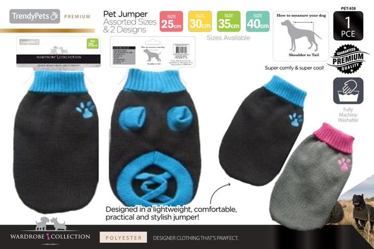 1Pce Knit Dog Jumper 25cm, 30cm, 35cm, 40cm - Ser2