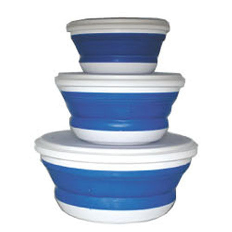 SET OF 3 Collapsible Containers With Lids Portable Camping Caravan Boat Fishing