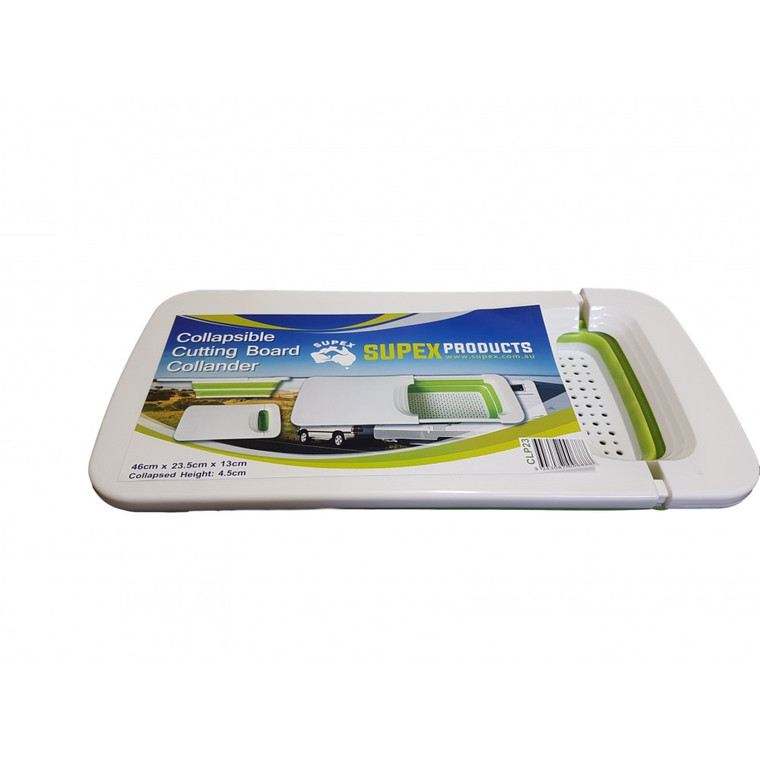 COLLAPSIBLE CUTTING BOARD AND COLLANDER WHITE / GREEN