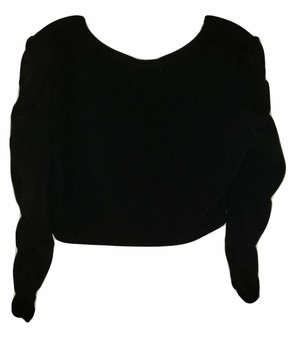 Black Gather Sleeve Crop