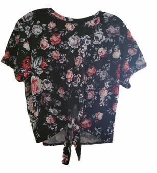Black Flower Print Tie Front