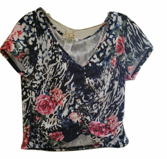 Black Tropical Gather Front Top
