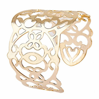 Wide Gold Color Charm Hollow CuffSize
