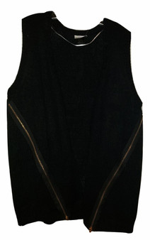 Black Vest Side Zipper Sweater