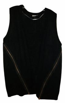 Black Vest Side Zipper Sweater
