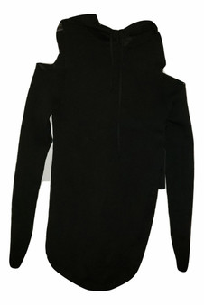 Black Cold Shoulder Hoodie