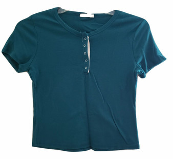 Green Rib Snap Top