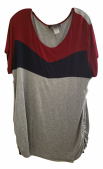 Gray Burgundy Rouch Top