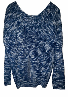Blue Black Knot Front Sweater