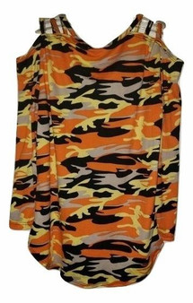 Orange Camo Shoulder Top