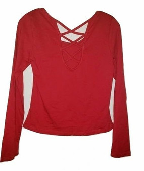 Red Front Tie Long Sleeve