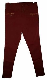 Dark Red Button Pants