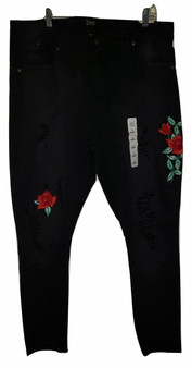 Black Ripped Red Rose Skinny Jeans