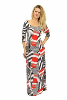 Red Printed Long Maxi Dress Scoop