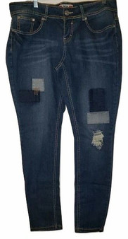 Blue Patch Rip Skinny Jeans