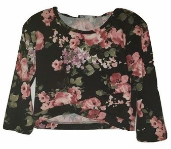 Black Floral Flare Long Sleeve