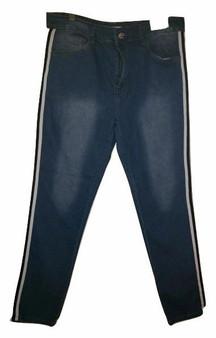 Fade Wash Blue Black White Stripe Jeans