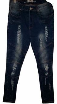 Blue Rib Distressed Skinny