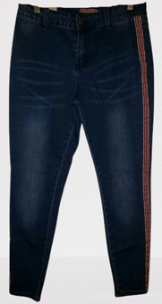 Blue Painted Red Stripe Jeans