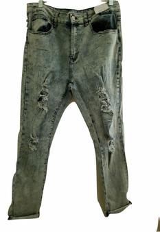 Lite Blue Ripped Cuff Skinny Jeans
