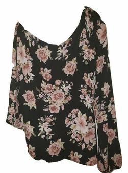 Black Floral One Shoulder