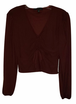 Burgundy Front Gather Tie LS