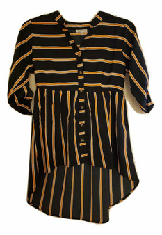Black Mustard Stripe Button Baby Doll Top