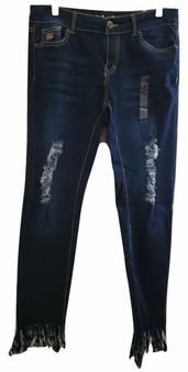 Med Blue Wisker Fray Skinny Jeans