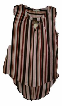 Burgundy Stripe Ring Collar Top