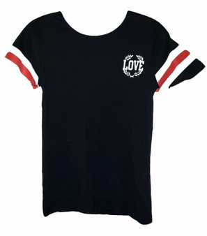 Black Red White Stripe Love Tee