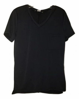 Black V Neck Front Pocket Top