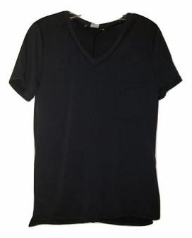 Black V Neck Front Pocket Top