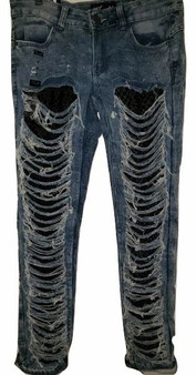 Med Blue Distressed Net Denim Jeans