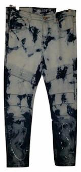 Med Blue Faded Rib Cuff Jeans