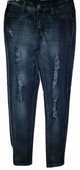 Med Blue Diamond Cut Jeans
