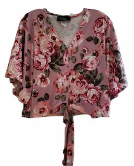 Rose Floral Flutter Tie Front Top