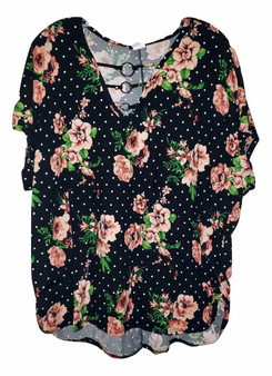 Black Floral Dot Chain Top