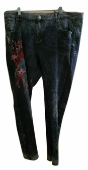 Blue Washed Flower Skinny Jeans