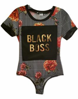Black Flower Black Boss Body Suit