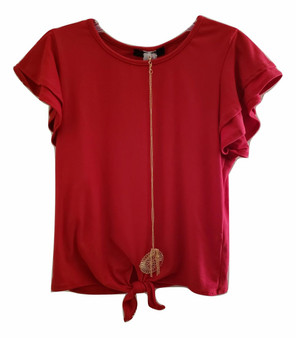 Red Flutter Sleeve Chain Tie Front