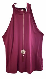Magenta Sleeveless Chain Top