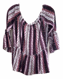 Purple BOHO Smock Top