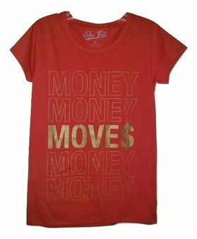 junior money moves, red attitude, womens shirts